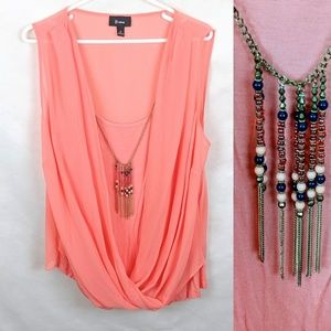 B Wear Peach Blouse With Necklace Size 1X